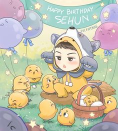 Happy Birthday EXO maknae Oh Sehun~ —- (Conffession here, I can't really add details here since today is such a chaos -with work etc etc I only have very limited time to draw it. It supposed to be spring theme, since Sehun's birthday is when. Chibi Exo, Anime Chibi, Happy Birthday, Art Birthday, Birthday Nails, Kpop Exo, Kokobop Exo, Chanbaek, Softies