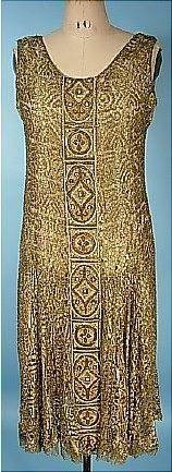 c. 1925 Gold Bullion Lame Lace Flapper Dress with Pearls, Embroidery and Beads! Great Gatsby Dress. Front