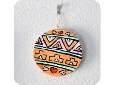 """""""Aztec Inspired Circle Ornament"""" by #katnawlins on #etsy, $10.00 - #ornament #holidays #gift #tribal #aztec #geometric #colorful #triangles"""