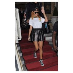 Hot! or Hmm...Rihanna's Amsterdam Trapstar x 40 Oz LDN Snapback, Super Flat Capo Gianni Sunglasses, Miu Miu Pleated Leather Mini Skirt, and Silver Spoon Attire High Fashion Short Sleeve T-Shirt - The Fashion Bomb Blog : Celebrity Fashion, Fashion News, Wh