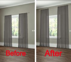 How to hang your curtains to give the illusion of larger windows. -- 27 Easy Remodeling Projects That Will Completely Transform Your Home(Diy House Renovations) Diy Casa, Easy Home Decor, Home Decoration, Best Interior Design, Home Projects, Bedroom Decor, Bedroom Curtains, Window Treatments Living Room Curtains, Picture Window Treatments