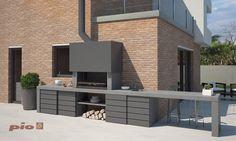 Barbacoa a medida Ernest Bbq Kitchen, Diy Outdoor Kitchen, Barbecue Design, Barbecue Grill, Small Backyard Gardens, Backyard Patio, Balcony Design, Patio Design, Modern Exterior