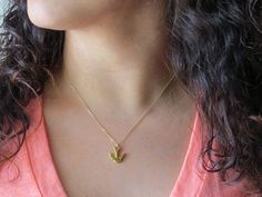 Small Bird Necklace Swallow Charm Necklace Gold by LeCharmerie, $21.50