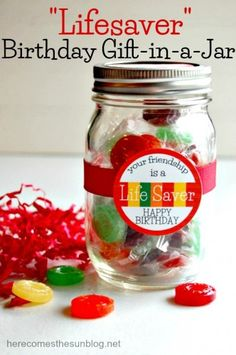 """""""Lifesaver"""" Birthday Gift in a Jar - with downloadable printable"""