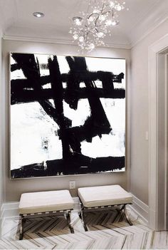 """Price from: $144  Large Original Abstract Painting On Canvas, Black and White  TG028 Square painting Size from: 22"""" x 22""""   handmade Acrylic from Studio Trend Gallery#abstractpainting #largecanvasart #largeabstractart #originalartwork #originalart #abstractcanvas #texturepainting #homedecorart  #roomdecor #roomdesign #livingroomdecor #wallart #wallartdecor #wallartprint Large Canvas Art, Abstract Canvas, Black And White Abstract, White Art, Wall Art Decor, Wall Art Prints, Industrial Wall Art, Spray Paint Art, White Acrylic Paint"""