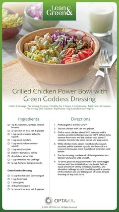 Grilled Chicken Power Bowl with Green Goddess Dressing Lean Protein Meals, Lean Meals, Medifast Recipes, Healthy Recipes, Lean Recipes, Green Goddess Dressing, Lean And Green Meals, Low Carb Veggies, Eating Clean