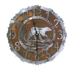 Wall Clocks Décor   Wilderness Bear Rust Patina and Burnished Steel Wall Clock 18 inch -- Continue to the product at the image link. Note:It is Affiliate Link to Amazon.