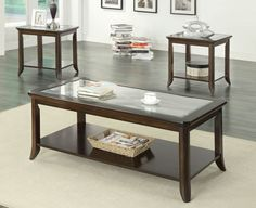 Casual Brown Wood And Tempered Glass End Table