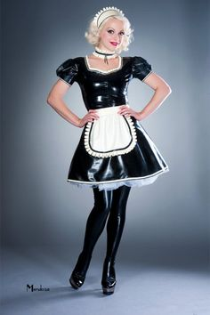 PRODUCT DETAILS Hand pleated ruffle neckline Puff sleeves A line style skirt Short back dressing zip Maid hat, Maid choker and Maid apron are not included Other colours available just ask LOOK AFTER ME I'm fully chlorinated for your ease of use French Maid Dress, French Maid Uniform, French Maid Costume, Latex Wear, Latex Dress, Sexy Latex, Mendoza, Latex Costumes, Latex Cosplay