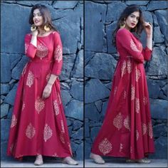 pink tapeta and jquard silk partywear gown - Fabric : Tapeta silk & jaikard silk gown with 4 meter flair( semi stich )fabric given for short sleeves Indian Gowns Dresses, Maxi Gowns, Kurta Designs Women, Salwar Designs, Gown Pattern, Dress Patterns, Indian Designer Outfits, Designer Dresses, Designer Kurtis