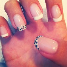 Leopard french nail art with shellac