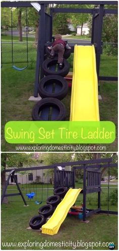 DIY Swing Set Tire Ladder Instructions - DIY Old Tire Furniture Ideas