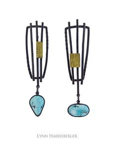 "TER-1308 | Layers Earrings –– Natural Nevada Blue Moon Turquoise; Oxidized Sterling Silver & 18K gold bimetal. 5/8"" x 2 1/4"" 