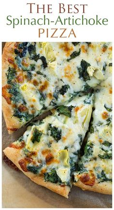 Spinach Artichoke Pizza - this is my FAVORITE pizza to make at home! You wouldn't believe how good it is!!