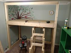 plywood - cut it into half to get it inside of frame - by the way Lowes will cut your plywood for free - that way it fit in my car and all I had to do was notch the corners with a jigsaw Diy Bed, Garages, Raised Beds, Plywood, Lowes, Birch, Bedroom, Creative, Frame