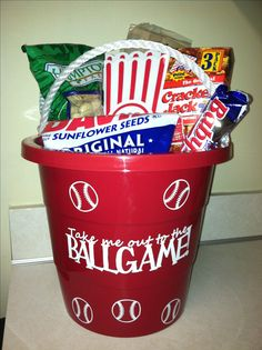 baseball coach gift bucket or can be a gift to players (fill with candy that has inspirational/encouraging names)