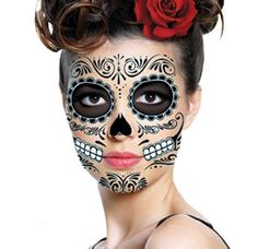 I just bought: Sugar Skull Temporary Face Tattoo - All Black - Day of the Dead - Calavera - Halloween Costume These mask designs work great for men, women and children. They can be cut and applied to any face s via http://halloweencostumes.maxodin.com/get-sugar-skull-temporary-face-tattoo-all-black-day-of-the-dead-calavera-halloween-costume-get-rabate/