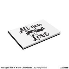 Shop Vintage Black & White Chalkboard Love Wedding Guest Book created by merrybrides. Chalkboard Wedding Invitations, February Wedding, Wedding Reception Decorations, Wedding Ideas, Wedding Guest Book, Vintage Black, Black And White, Books, Libros