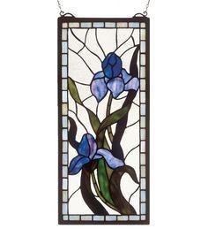 """9""""W X 20""""H Iris Stained Glass Window"""