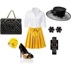 love the skirt and shirt combo - Would pass on the hat...  created by wernerusc.polyvor...