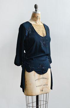Vintage 1920s dark navy silk beaded blouse.