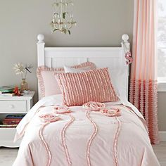 Love :) - and curtains with ruffles to match!  Kids' Bedding: Girls' Pink Roses Duvet Cover in Duvet Covers