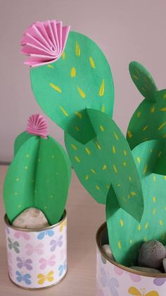 How cute! Construction paper cactus in a can planter.