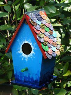 Bird house with beer/soda cap shingles