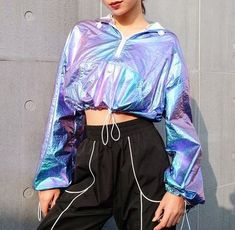 Hologram Metallic Zip Hoodie Crop Top sold by Tony Moly Store. Crop Top Outfits, Sporty Outfits, Stage Outfits, Mode Outfits, Cute Casual Outfits, Pretty Outfits, Girls Fashion Clothes, Teen Fashion Outfits, Outfits For Teens