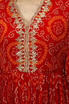 Anita Dongre presents Red gota patti work bandhini kalidaar palazzos set at Pernia's Pop Up Shop. Kurti Neck Designs, Kurta Designs Women, Kurti Designs Party Wear, Blouse Designs, Bandhani Dress, Saree Dress, Gown Dress, Dress Shoes, Shoes Heels