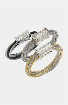 CHARRIOL Modern Mix gold and cable diamond rings  www.gembycarati.com  www.facebook.com/gembycarati