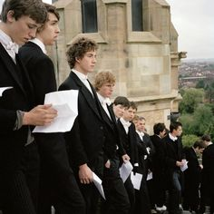 Peter Marlow  GB. Windsor. Eton School. The Eton Wall Game, a vigorous hybrid of rugby union and football played since 1766 on Ascension Day between two opposing teams of students. The service upon the chapel roof prior to the game.