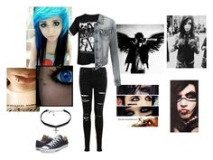 """""""BVB ARMY #2"""" by bandsaremylife09 ❤ liked on Polyvore featuring Miss Selfridge, LE3NO, Vanessa Mooney, Converse, women's clothing, women, female, woman, misses and juniors"""