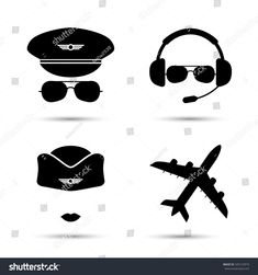 Stewardess, pilot, airplane silhouette. Black icons of aviator cap, hat and jet. Aviation profession. Flight attendant. Vector illustration. Isolated on white