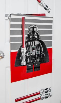 Here's a fun and easy DIY Star Wars birthday party game idea: Pin the Lightsaber on Darth Vader. Play it at your Star Wars birthday party!