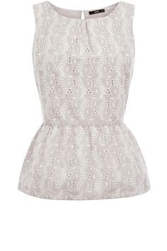 This sleeveless shell top has an all over broderie pattern and a peplum waist to finish.