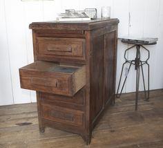 Vintage French Oak Filing Cabinet www.designvintage.co.uk