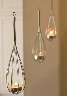 Upcycle Home Idea- Use Whisks to create haning tea light baskets!... - http://centophobe.com/upcycle-home-idea-use-whisks-to-create-haning-tea-light-baskets-2/ -