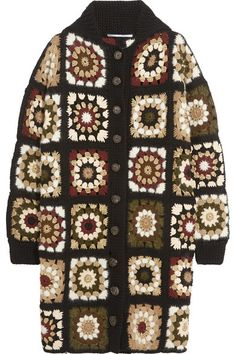 Sexy Crochet Long Coat Cardigan with scarf African Flowers Mandala Granny Squares Hippie Boho Gypsy Carnaby Bohemian Vintage Gifts for Her Crochet Coat, Crochet Jacket, Crochet Cardigan, Crochet Clothes, Hand Crochet, Long Cardigan, Brown Cardigan, Multi Coloured Cardigans, Gilet Long
