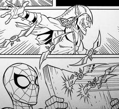Spider-Man and Green Goblin! Pencils by Ron Lim, Inks by Walden Wong. Sub me at www.YouTube.com/WaldenWongArt #spiderman #greengoblin #avengers #spider #marvel #comics #marvelcomics #marvellegends #wasp #doodle #sketch #draw #ink #inks #inking #art #artist #dccomics #cosplay #artoftheday #artaccount #artwork #artinspiration #artoftheday #artistsoninstagram #drawdraw #penandink #superheroes #manga #draweveryday #drawingsketch Doodle Sketch, Drawing Sketches, Drawings, Green Goblin, Marvel Comics Art, Wasp, Amazing Spider, Marvel Legends, Art Day
