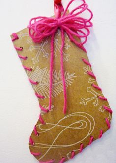 brown paper stocking - cute wrapping idea I got a 4foot roll of this stuff....looks like FUN!