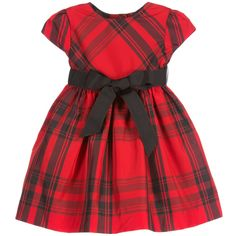 Baby girls smart red tartan, short sleeved dress by Ralph Lauren. Made with a taffeta feel and a black ribbon sash belt which ties in a bow at the front. It has a silky lining, a flare to the skirt and It fastens on the back with tartan covered buttons. It comes with a pair of matching knickers, great for covering the nappy.<br /> <ul> <li>100% polyester (taffeta feel)</li> <li>Hand wash</li> <li>Button fastenings on the back</li> <li>Designer colour: Red/black</li> </ul>
