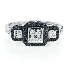 1/4 ct. tw. Black & White Diamond Ring in Sterling Silver