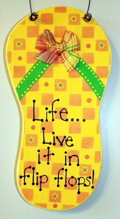 Wooden Bright Yellow Orange and Green Flip Flop by lauraswoodshed, $13.00