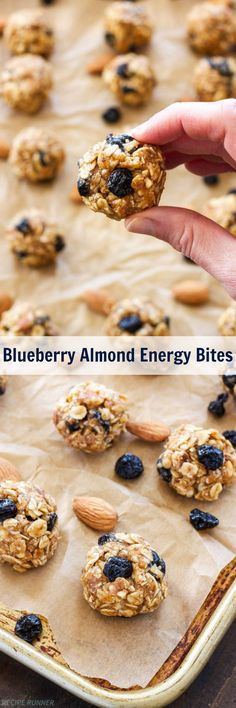 Blueberry Almond Energy Bites   A healthy, portable, one bite snack perfect for eating before or after a workout!