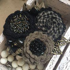 """Купить Вязано-текстильная брошь """"Прогулка по ночному лесу"""" - брошь ручной работы, брошь"""