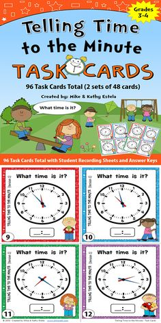 This set includes 96 task cards total (2 sets of 48 cards) to help students learn how to tell time to the minute. You may use these resources in math centers, scoot game, or simply as an individual/group activity. $