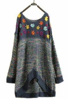 $32.99 awesome Superbaby Women Crochet Flower Long Pullover Sweater Blue Beige M