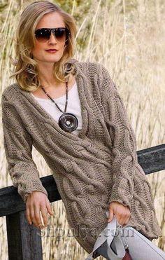 Пуловер с v-образным вырезом с косами, вязаный спицами