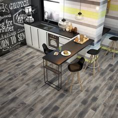 If you're looking for rustic floor tiles, these shabby chic wood effect tiles are a gorgeous choice. The wide colour and pattern variation between tiles gives a wonderfully contemporary distressed appearance. Wood Effect Floor Tiles, Wood Effect Porcelain Tiles, Wall And Floor Tiles, Porcelain Floor, Tiles London, Charred Wood, Wood Patterns, Kitchen Flooring, Amber